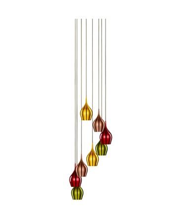 Searchlight Vibrant 8 Light Multi-Drop Multi-Coloured Bell Shaped Pendant Light