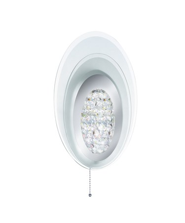 Searchlight Led Wall Light -  Oval Layered Frosted Glass - Chrome - Pull Cord
