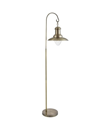 Searchlight Hanging Fisherman Lantern Floor Lamp - Antique Brass - Glass Shade