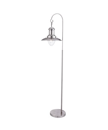 Searchlight Fisherman Lantern Floor Lamp - Satin Silver - Clear Glass Shade