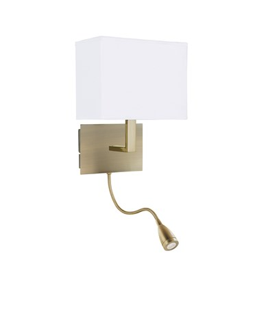 Searchlight Led Flexi Arm Wall Light  - Antique Brass - Black Shade