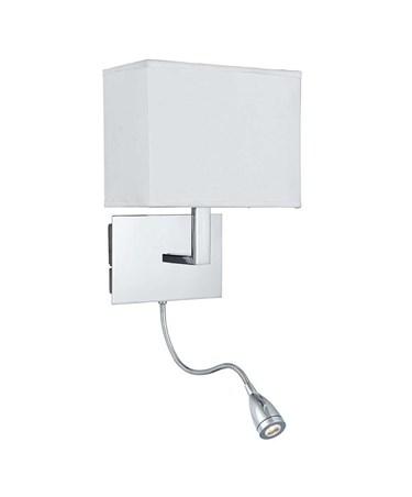 Searchlight Led Flexi Arm Wall Light  - Chrome - White Shade