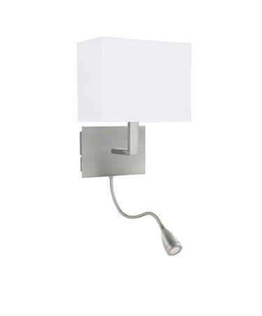 Searchlight Led Flexi Arm Wall Light - Satin Silver - White Rectangular Shade