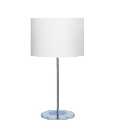 Searchlight Round Chrome Table Lamp - Ivory Fabric Drum Shade
