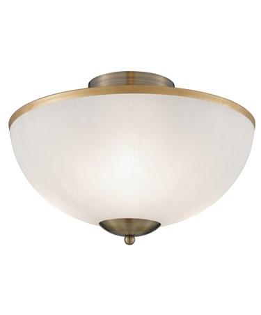 Searchlight Flush Ceiling 3 Light - Antique Brass - Opal Glass Shade