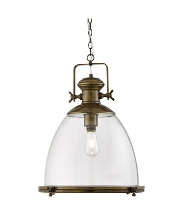 Searchlight Industrial Chain Pendant - Large Clear Glass Shade - Antique Brass