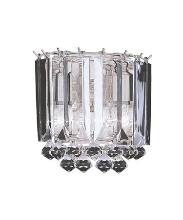 Searchlight Sigma Double Wall Light - Chrome - Clear Crystal Balls