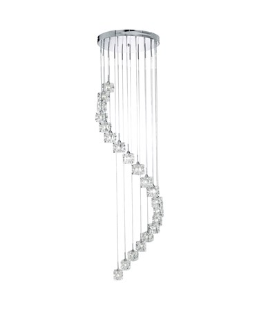 Searchlight Sculptured Ice Chrome Dingle Dangle Ceiling Pendant - Crystal Glass