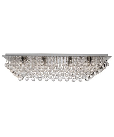 Searchlight Hanna 8  Light Rectangle Flush Fitting - Chrome - Crystal Balls