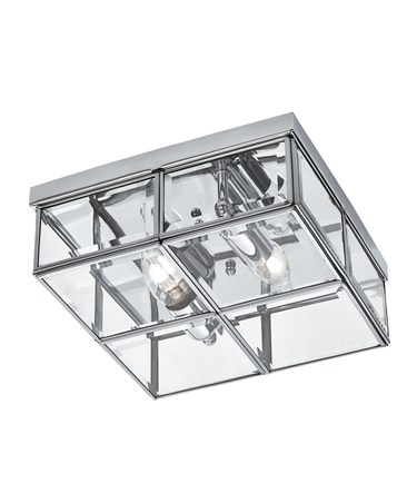 Searchlight Flush 2 Light Glass Box Ceiling Light - Chrome - Glass Panels