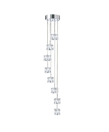 Searchlight Ice Cube 8 Light Ceiling Pendant - Chrome - Clear Ice Cube Glass