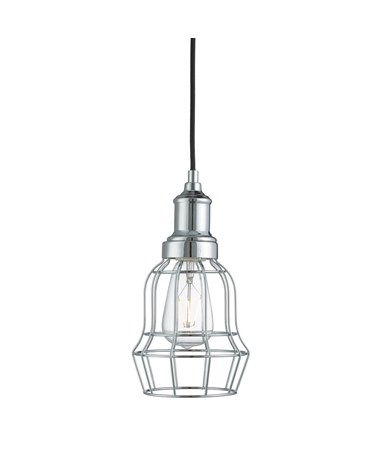 Searchlight Bell Cage Pendant 1 Light - Chrome - Modern - Industrial