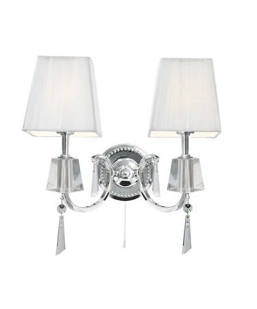 Searchlight Portico Double Wall Light - Chrome & Glass - White String Shade