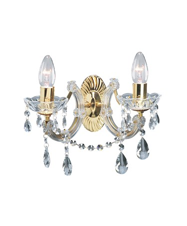 Searchlight Marie Therese  Double Wall Light - Crystal - Polished Brass