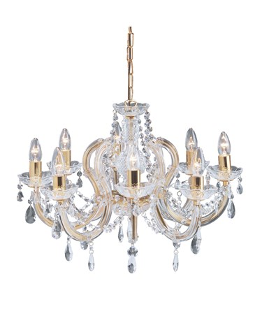 Searchlight Marie Therese  8 Light Chandelier - Crystal - Polished Brass