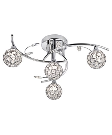 Searchlight Dimples 4 Light Semi Flush Fitting - Chrome - Round Glass Shades