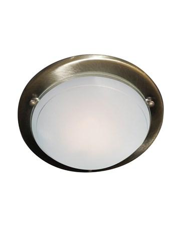Searchlight Round Flush Ceiling Light - Antique Brass - 30Cm