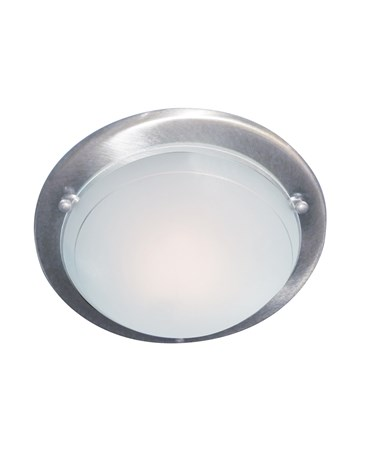 Searchlight Flush Ceiling Light - Satin Silver & White/Clear Glass