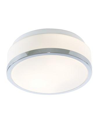 Searchlight Bathroom Ceiling Light - Opal White Glass Shade - Chrome Trim
