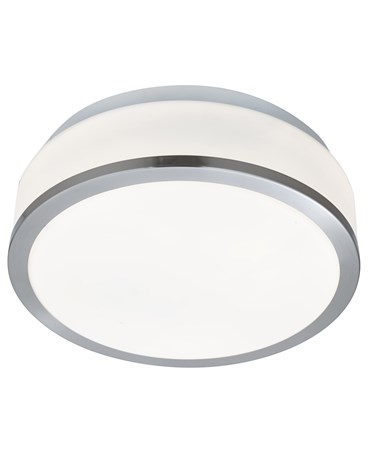 Searchlight Bathroom Ceiling Light - Opal Glass Shade - Satin Silver Trim