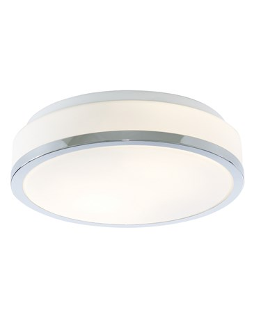 Searchlight Bathroom Ceiling Light - Opal Glass Shade - Chrome Trim