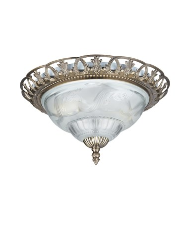 Searchlight Flush Ceiling Light - Antique Brass - Vintage - Clear & Frosted