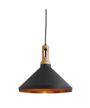 Searchlight Modern Cone Pendant Light- Black With Gold Inner - Wooden Cap
