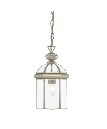 Searchlight Domed Lantern Single Candle Pendant - Antique Brass - Bevelled Glass