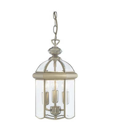 Searchlight Domed Lantern 3 Candle Pendant - Antique Brass - Bevelled Glass