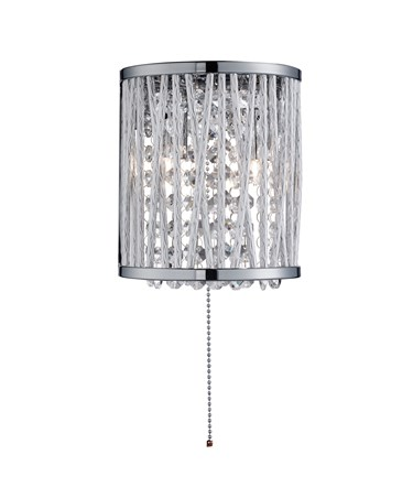 Searchlight Elise Double Wall Light - Chrome - Crystal - Pull Cord