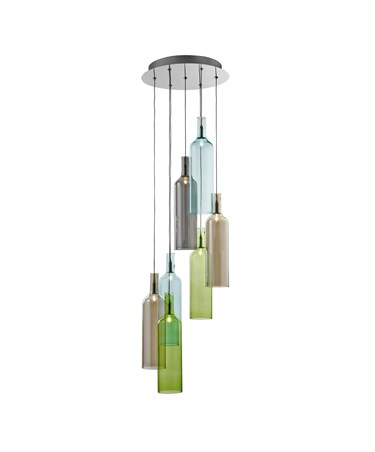 Searchlight Multi Coloured Bottles Ceiling Pendant Light - Chrome & Glass