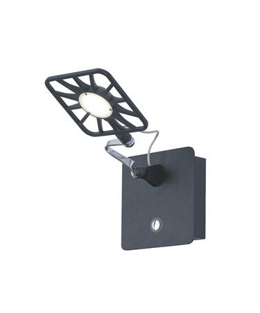 Searchlight Square Led Wall Light - Illuminated On/Off Touch Button - Black