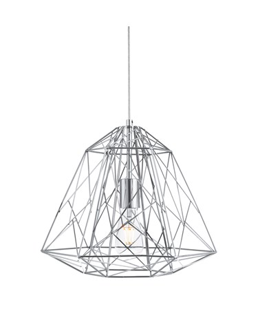 Searchlight Contemporary Geometric Cage Frameed Pendant Light - Chrome