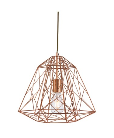 Searchlight Contemporary Geometric Cage Frameed Pendant Light - Shiny Copper