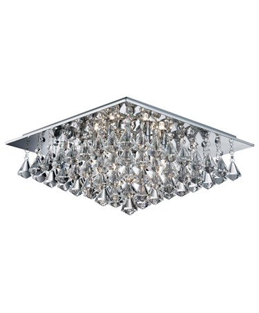Searchlight Hanna Square 6 Light Ceiling Fitting - Chrome - Crystal Drops