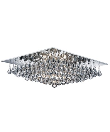 Searchlight Hanna Square 8 Light Ceiling Fitting - Chrome - Crystal Drops