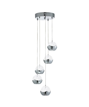 Searchlight Iceball Led 5 Light Pendant - Chrome -Clear Glass/Bubble Shades