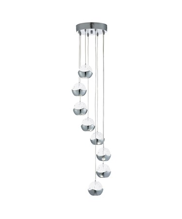 Searchlight Iceball Led 8 Light Pendant - Chrome -Clear Glass/Bubble Shades