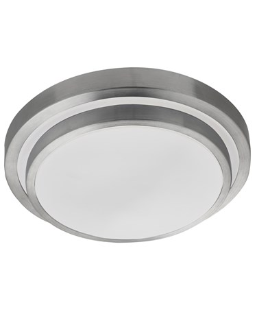 Searchlight Led Bathroom Flush Light - White Shade - Aluminium Trim - Ip44
