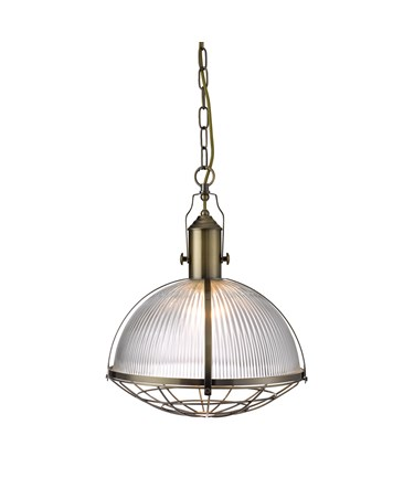 Searchlight Industrial Style Caged Pendant Light - Antique Brass & Clear Glass
