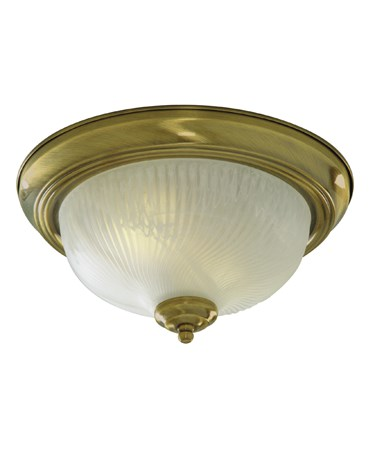 Searchlight Flush Ceiling Light - Antique Brass - Opal Glass - 29Cm