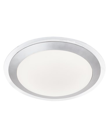 Searchlight Led Bathroom Flush Light - White Shade - Silver Trim - Ip 44