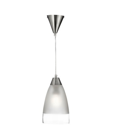 Searchlight Ceiling Pendant Light - Clear/Sanded Glass Band - Satin Silver
