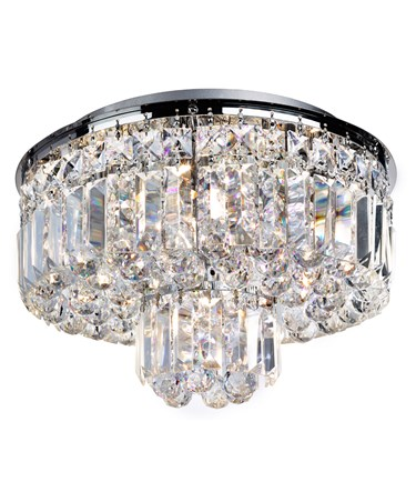 Searchlight Vesuvius 5  Light Round Flush Fitting - Chrome & Crystal