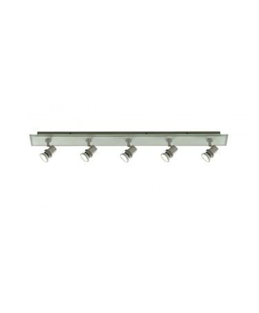 Searchlight Top Hat 4  Spotlight Bar - Satin Silver - Glass Backplate - Gu10