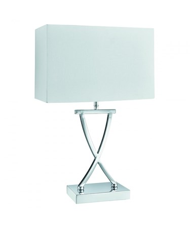 Searchlight Cross Table Lamp - X Shape Base - Chrome - White Rectangle Shade