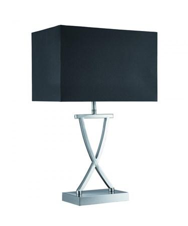 Searchlight Cross Table Lamp - X Shape Base - Satin Silver - Black Rectangle Sha