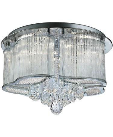Searchlight Mela Led Flush Ceiling Light - Clear Glass Trim - Clear Crystal