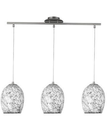 Searchlight Crackle - 3 Light Bar - Mosaic Glass Pendants - Satin Silver Trim