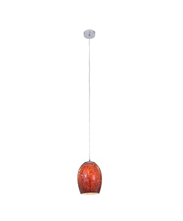 Searchlight Crackle Dome Pendant - Red Mosaic Glass - Satin Silver Suspension